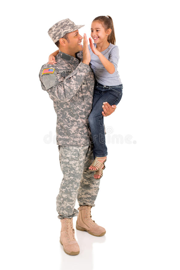 Father daughter high five royalty free stock photos