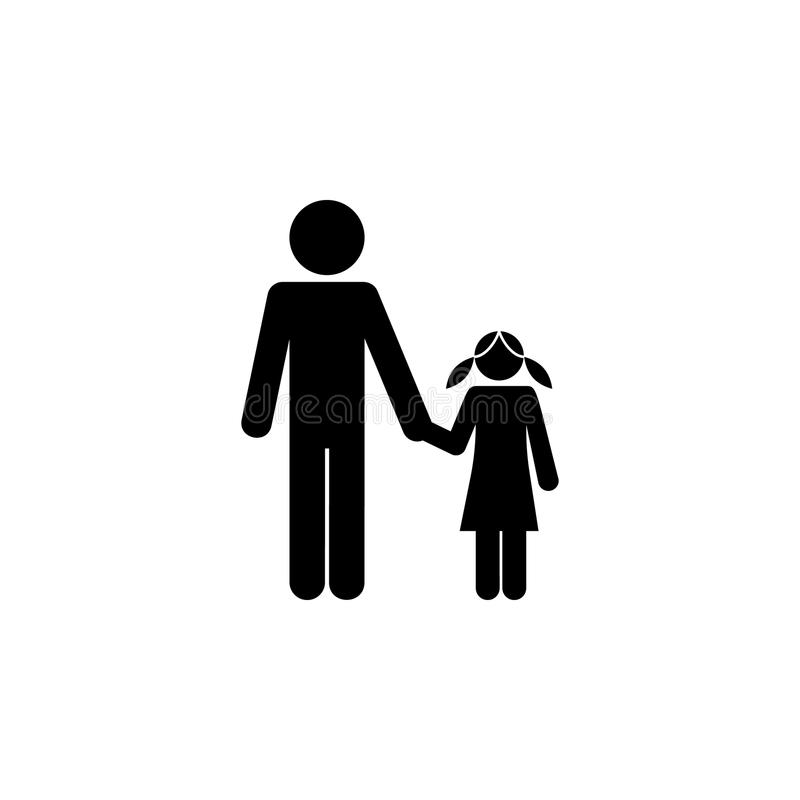 father and daughter holding hands icon. Elements of happy family icon. Premium quality graphic design icon. Signs, symbols collect royalty free illustration