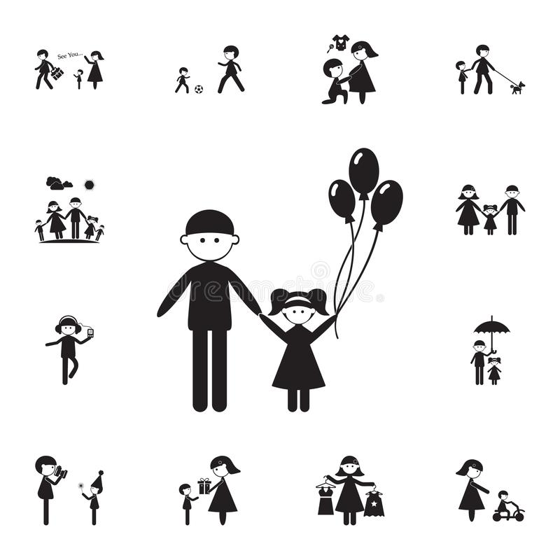 Father with daughter icon. Detailed set of Family icons. Premium quality graphic design sign. One of the collection icons for webs. Ites, web design, mobile app royalty free illustration