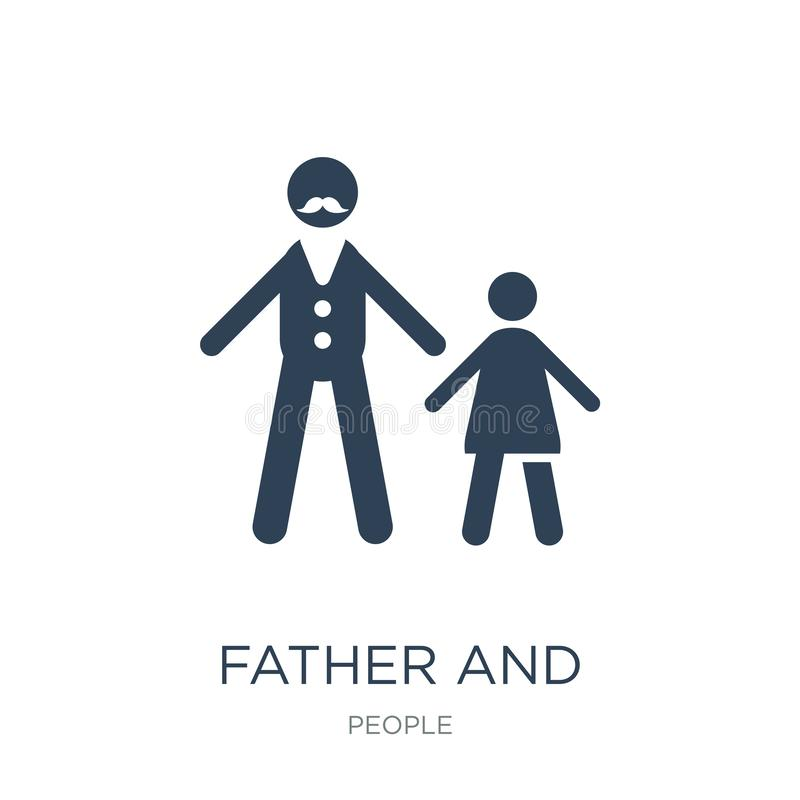 Father and daughter icon in trendy design style. father and daughter icon isolated on white background. father and daughter vector. Icon simple and modern flat royalty free illustration