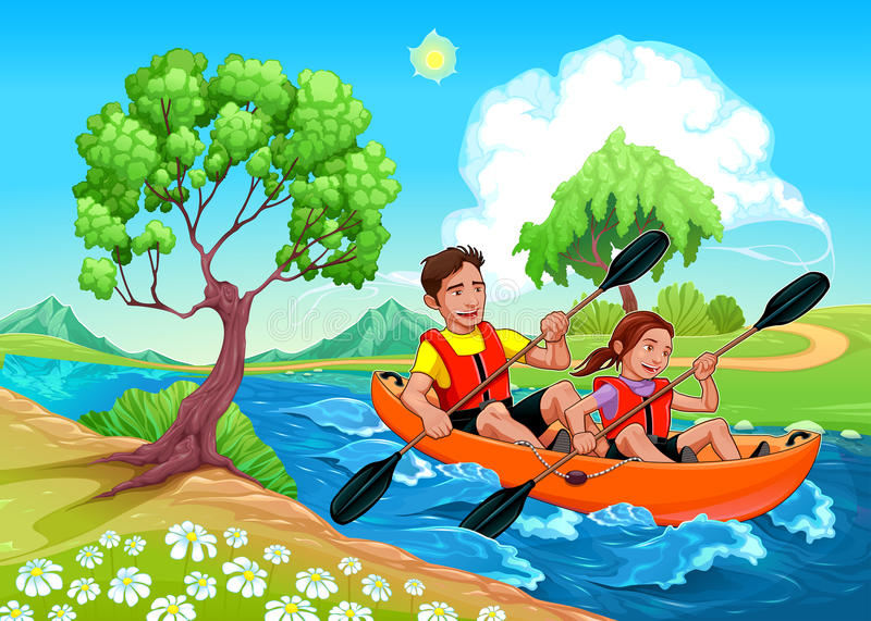 Father and daughter on the kayak in the river royalty free stock photo