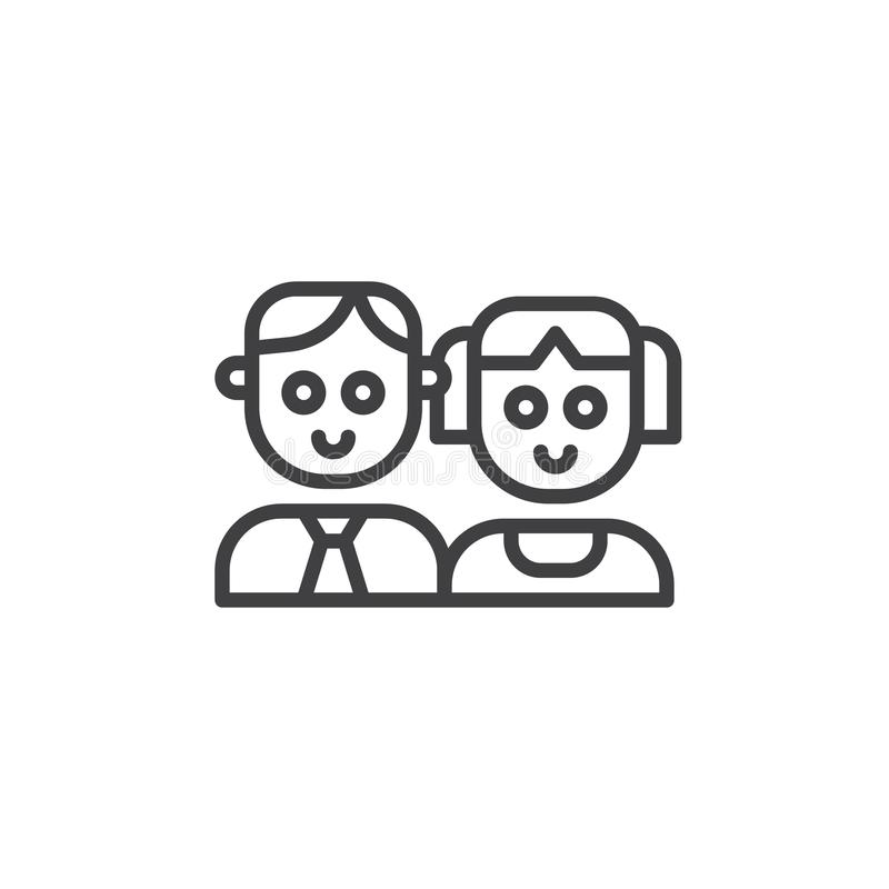 Father and daughter line icon stock illustration