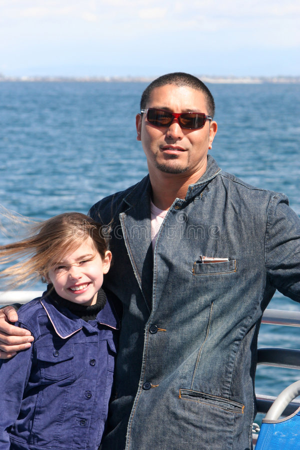 Father Daughter at the Ocean royalty free stock photo