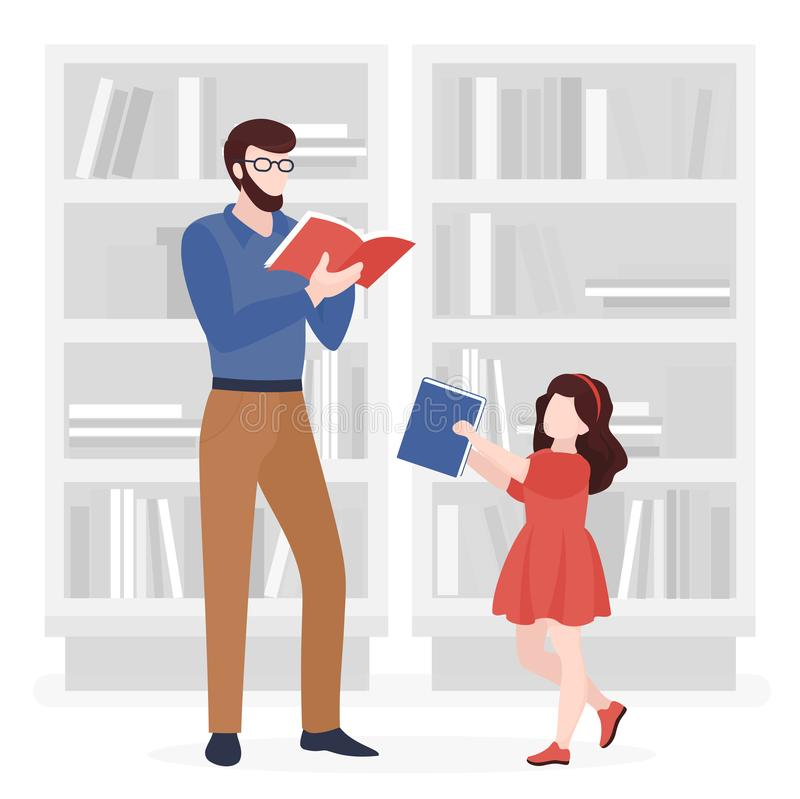 Father and daughter reading books flat vector illustration. Adult man in glasses and little girl holding book cartoon characters. Parent and child in library stock illustration