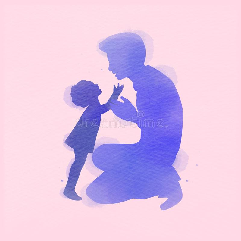 Father with daughter silhouette plus abstract watercolor painted. Happy father`s day. Digital art painting. Vector illustration.  stock illustration