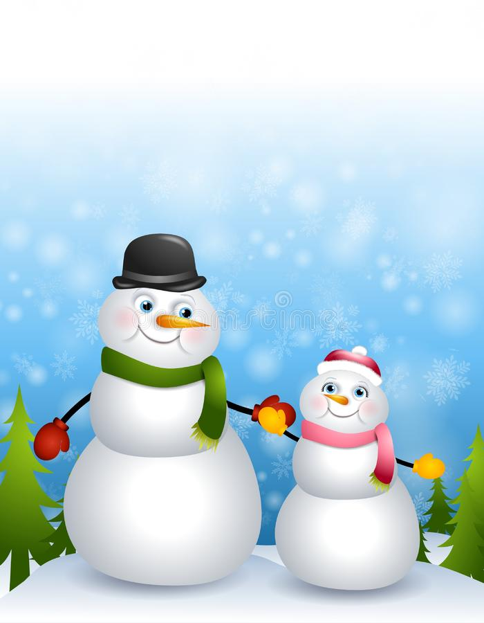 Father Daughter Snowmen stock photography