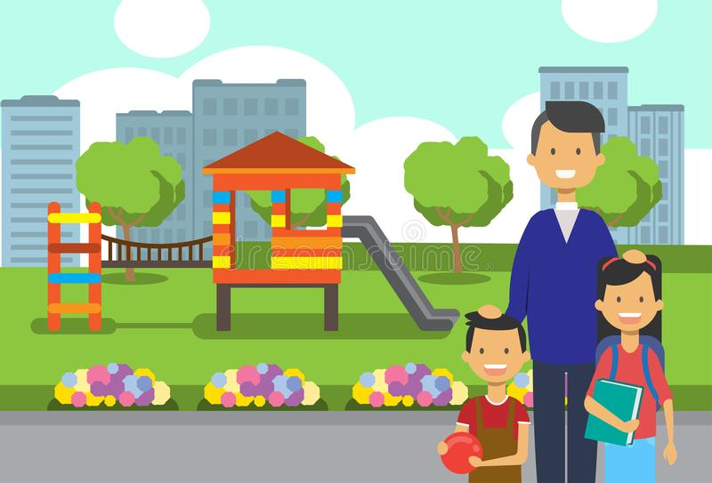 Father daughter son portrait avatar city park children playground flowers green lawn trees cityscape template background. Flat vector illustration vector illustration