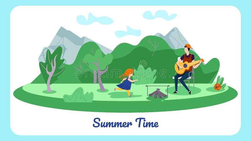 Father and Daughter Spend Time in Summer Camp. Happy Family of Father and Little Daughter Spend Time in Summer Camp, Man Playing Guitar near Campfire, Girl Play vector illustration
