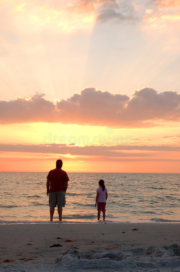 Download Father and Daughter sunset stock image. Image of bonding - 567989