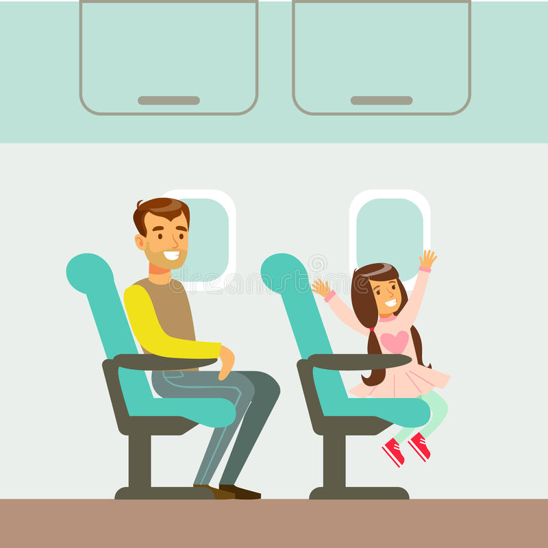 Father And Daughter Taking The Plane, Part Of People Taking Different Transport Types Series Of Cartoon Scenes With. Happy Travelers. Travelling With Public royalty free illustration