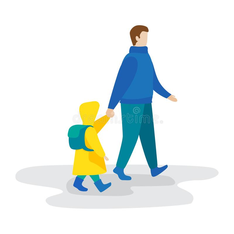 Father and daughter walk together. vector illustration. Father and daughter walk together. Flat vector illustration royalty free illustration