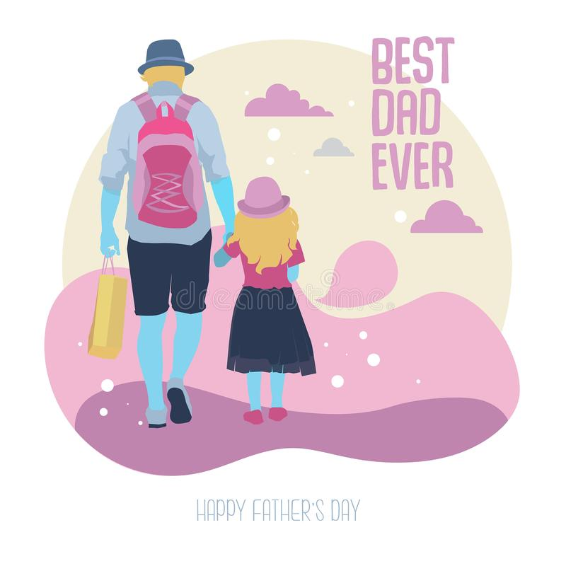 Father and daughter Walk together Illustration royalty free illustration