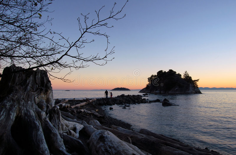 Father and daughter at whytecliff park royalty free stock photography