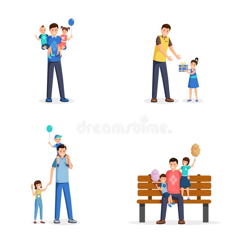 Father day flat vector illustrations set. Young men, single dads spend time with little children, sons and daughters stock illustration
