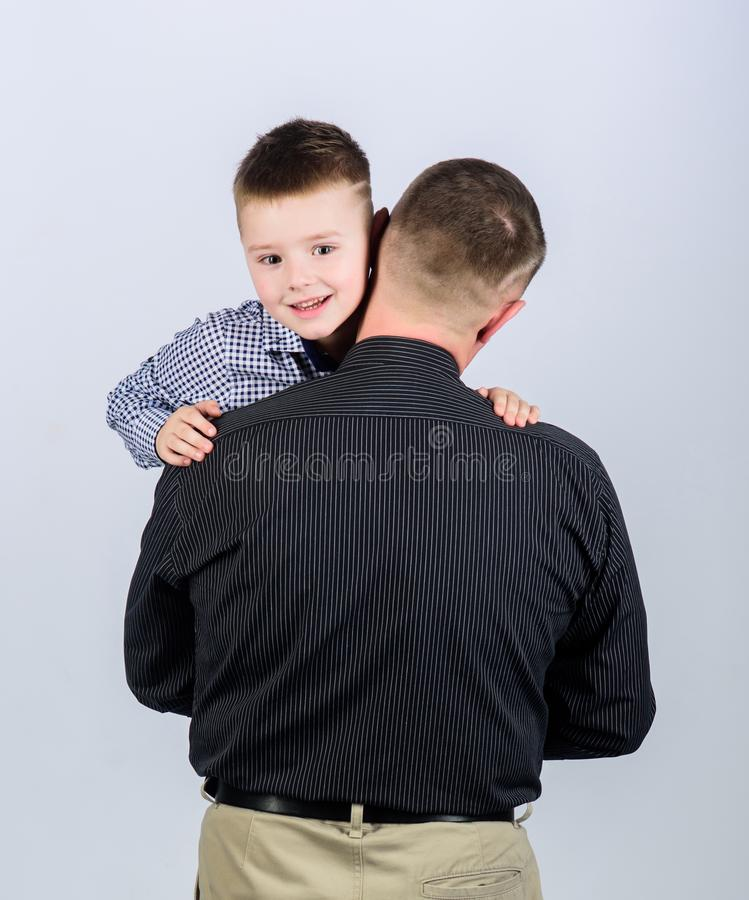Father example of noble human. Family bonds. Family support. Real men. Trustful relations father and son. Father little. Son. Best friends. Dad and adorable stock image