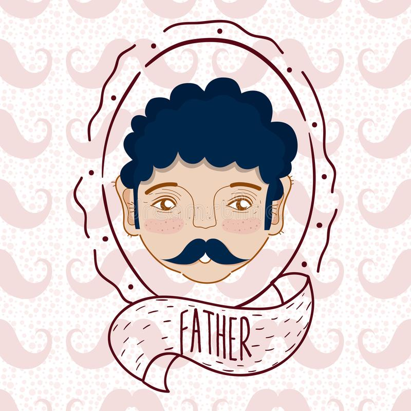 Father face cartoon over mustaches background royalty free illustration