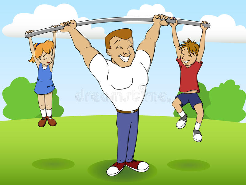 Father of a family playing sports with children stock illustration