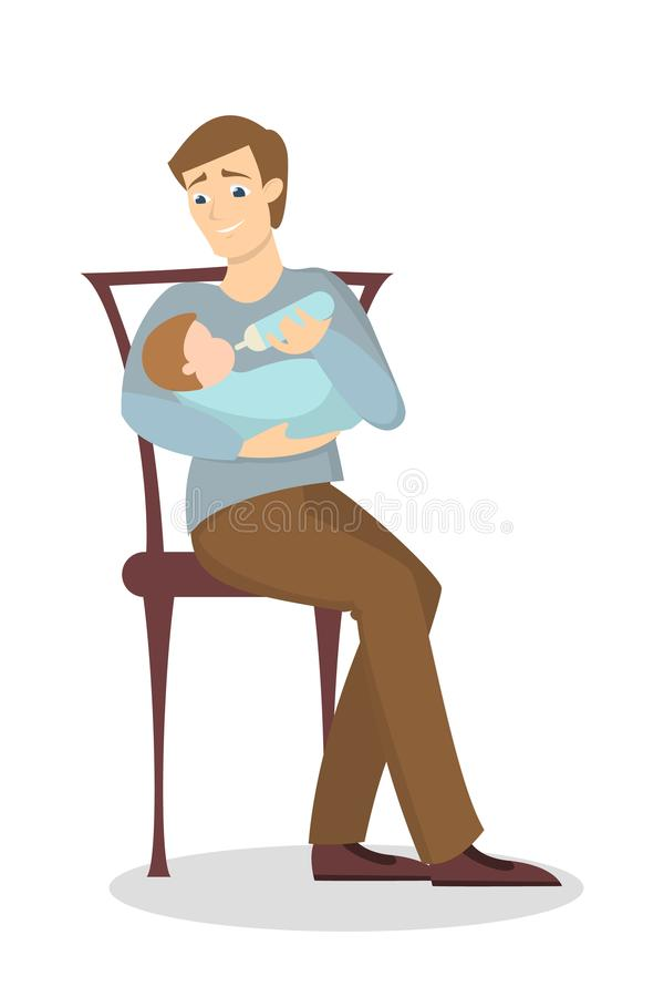 Father feeding baby. royalty free illustration