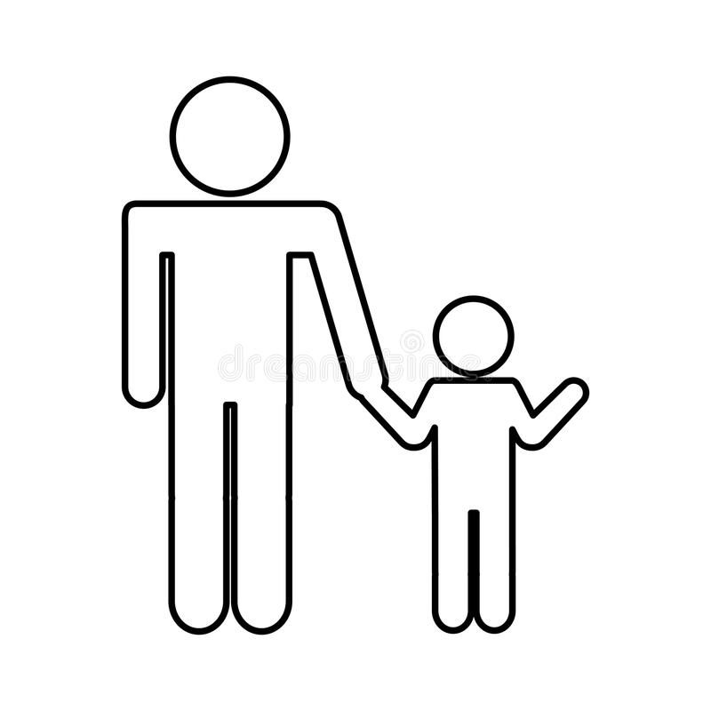 Father Figure With Son Silhouette Isolated Icon Stock Vector Illustration Of Element Symbol 90949896