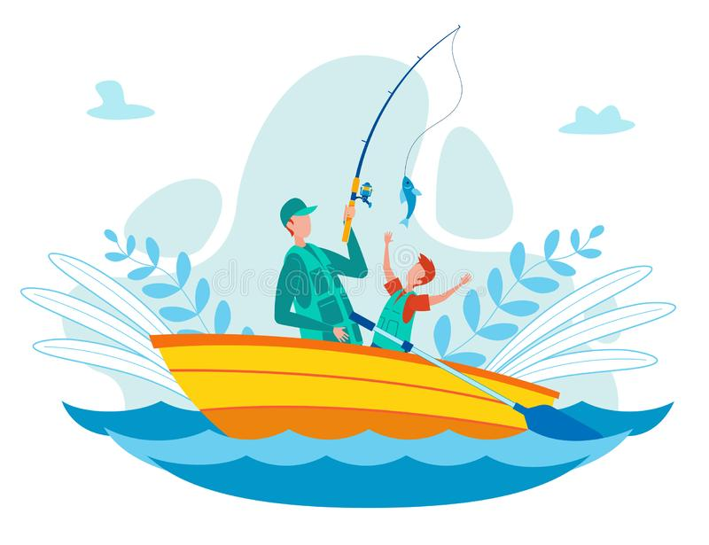 Father Fishing with Son on Boat Vector Concept stock illustration