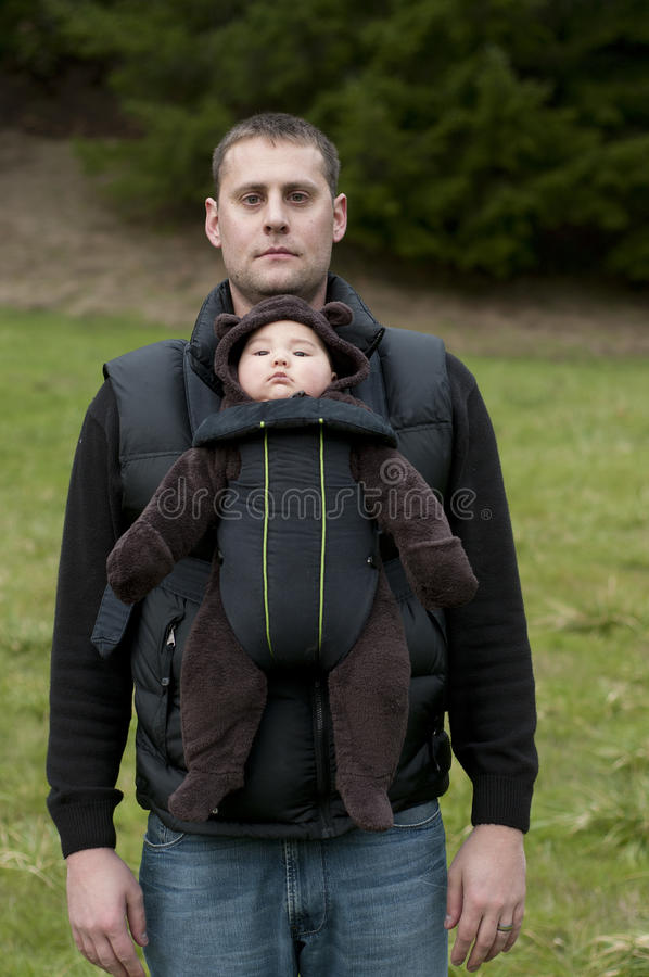 Father with front baby carrier stock image image of born for Daddy carrier