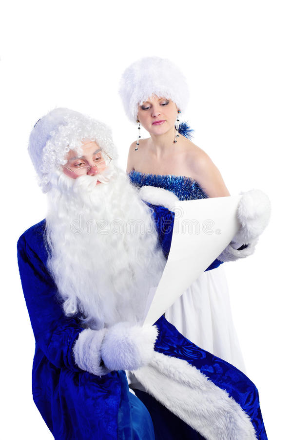 Father Frost and snow maiden stock image