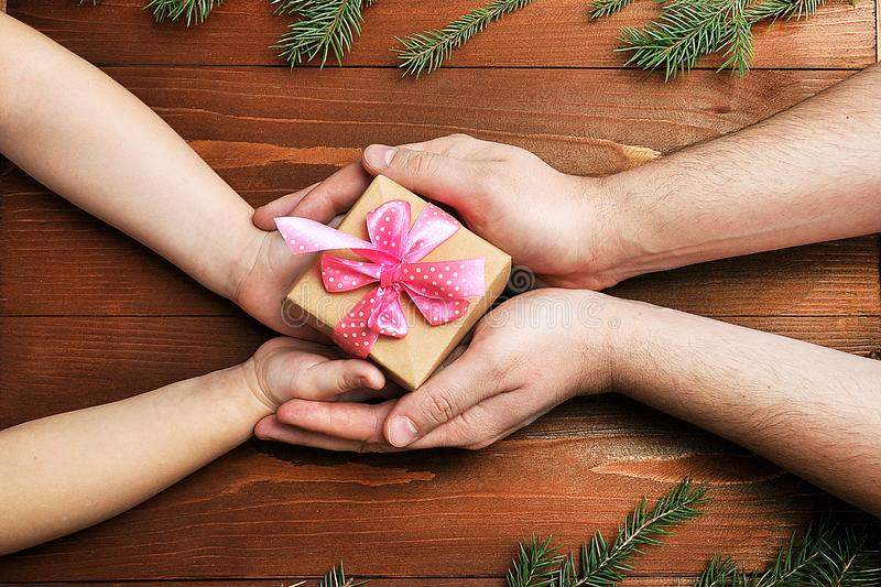 Father gives the child a gift royalty free stock images