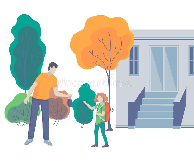Father gives his daughter lunch box. Parent taking child to school. Back to school. Concept of friendly family. stock illustration