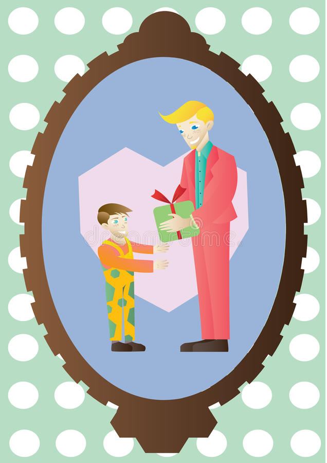 Father gives his son a present vector illustration