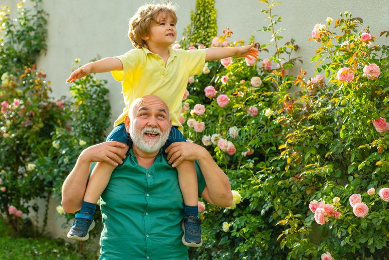 Father giving son ride on back in park. Happy grandfather giving grandson piggyback ride on his shoulders and looking up royalty free stock image