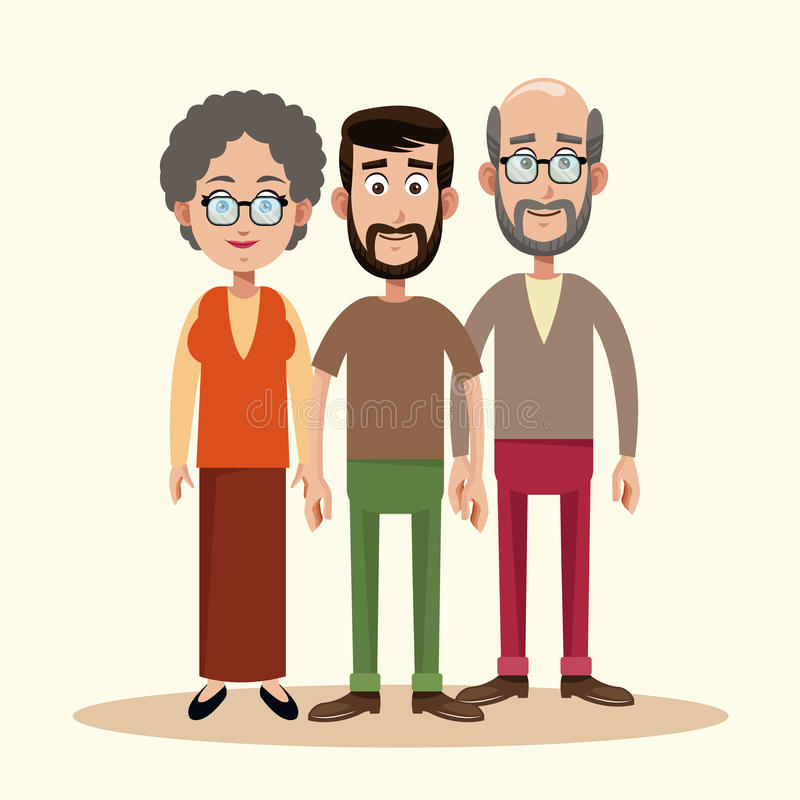father with grandparents family royalty free illustration