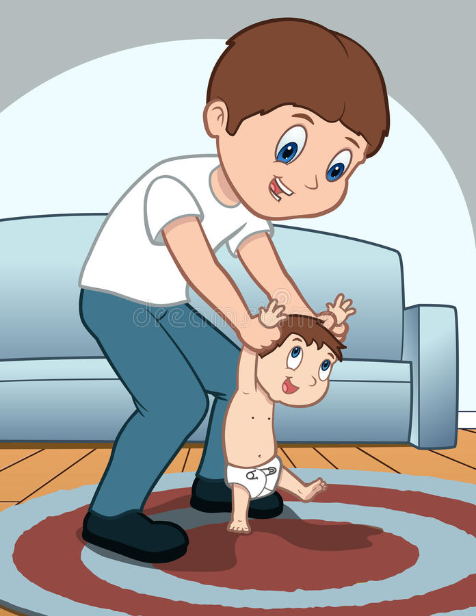 Father Helps Child to Walk royalty free illustration