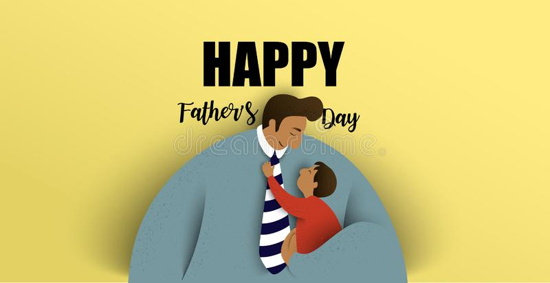 Father with his children. Happy fathers day card. Vector illustration.  vector illustration