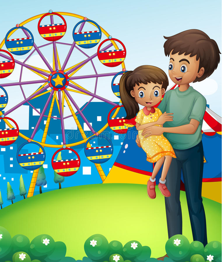 Download A Father With His Daughter At The Carnival Stock Illustration - Illustration: 33141288