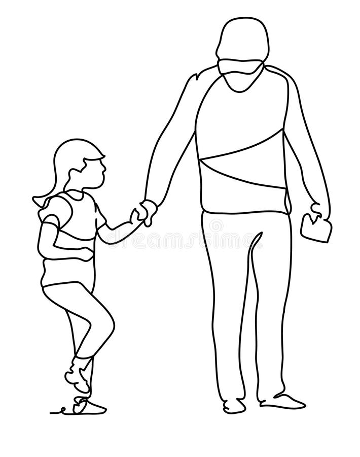 Father with his daughter. Happy family and father`s day. Continuous line drawing. Vector monochrome, drawing by lines vector illustration
