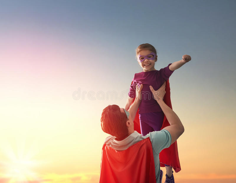 Father and his daughter stock images