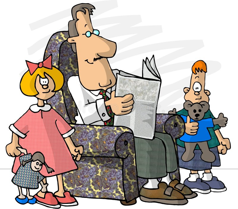 Father and his kids stock illustration