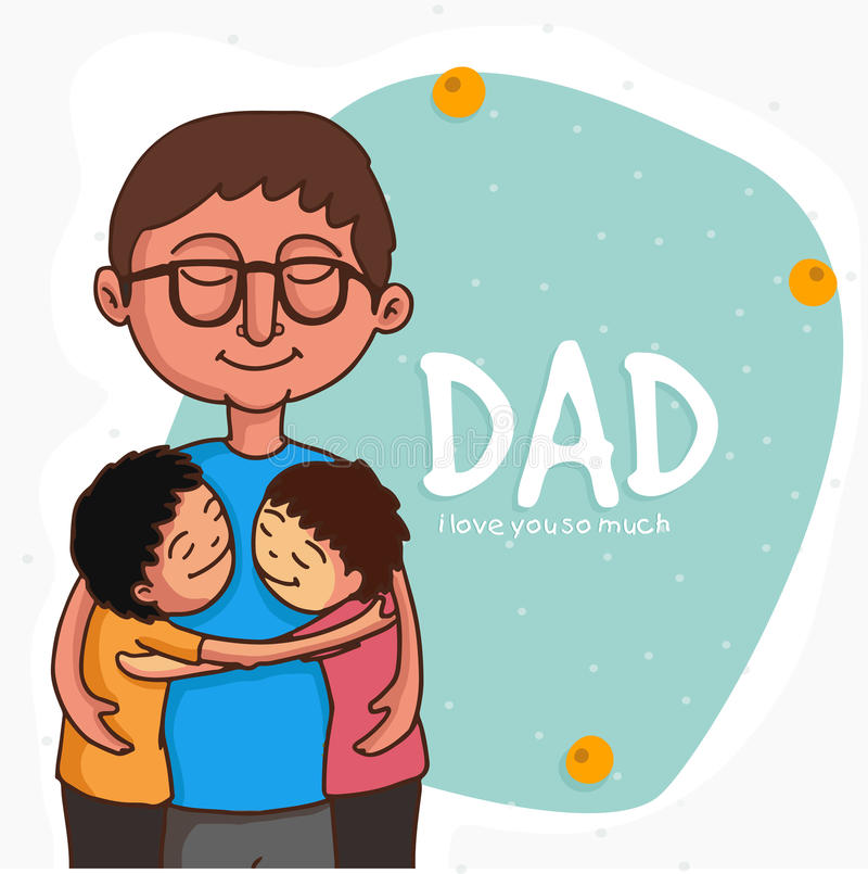 Father with his kids for Happy Fathers Day celebration. stock illustration