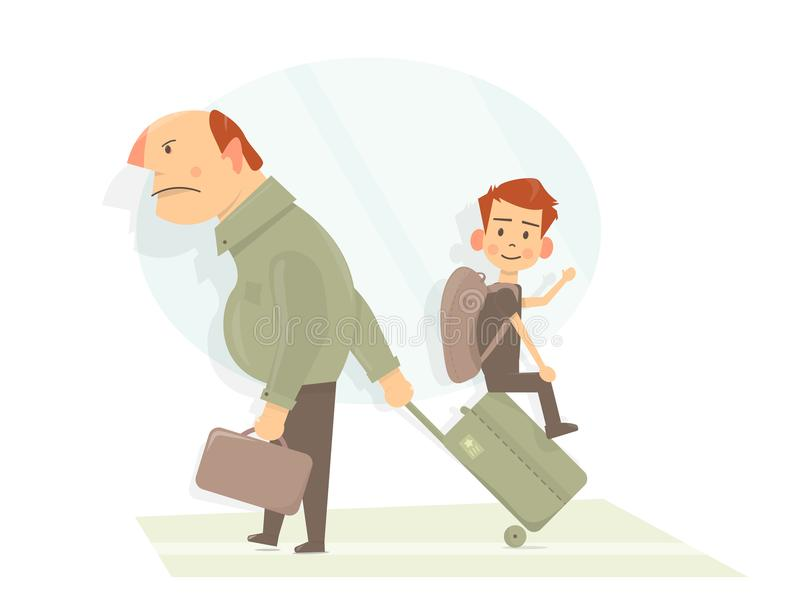 Father and his son are going on vacation in airport. Funny cartoon style. Concept for family time, vacation. vector illustration