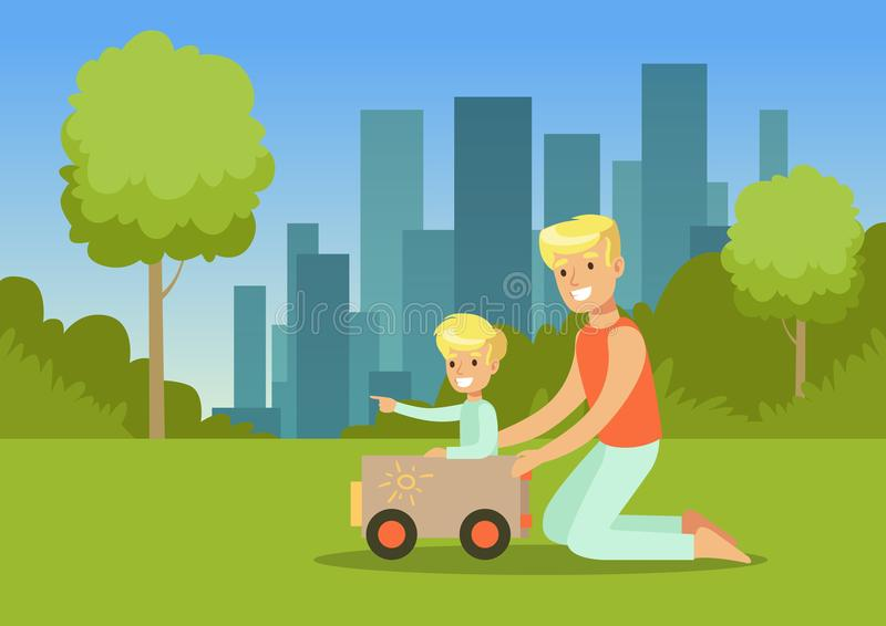 Father and his son playing with toy car in city park outside, family leisure vector illustration. Web banner royalty free illustration