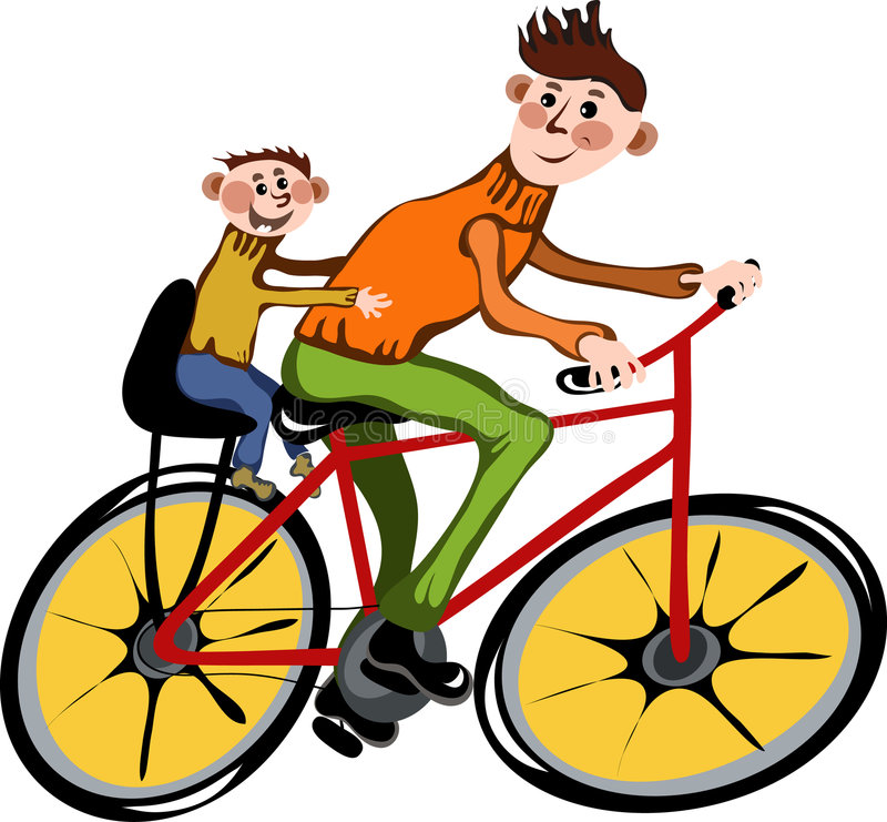 Father and his son walking by bicycle