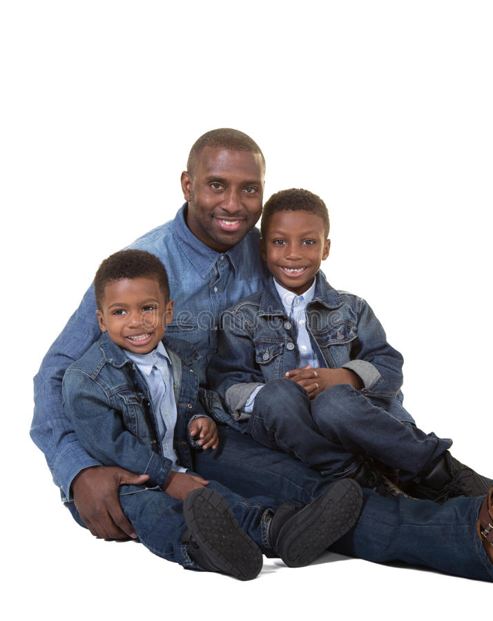 A father and his 2 sons stock photos