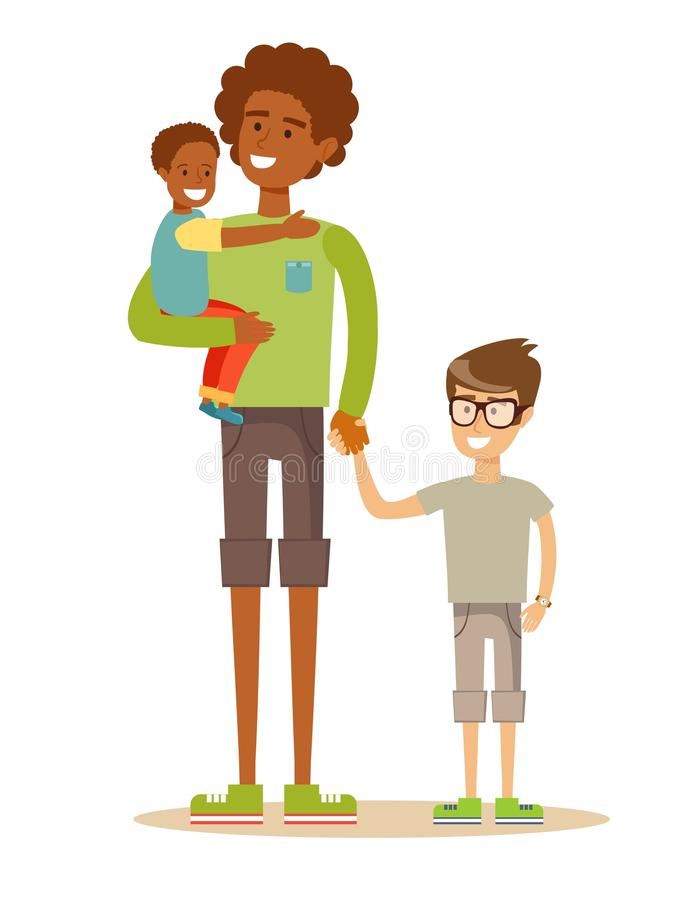 Father with his two children having a nice time. Mixed race family. vector illustration