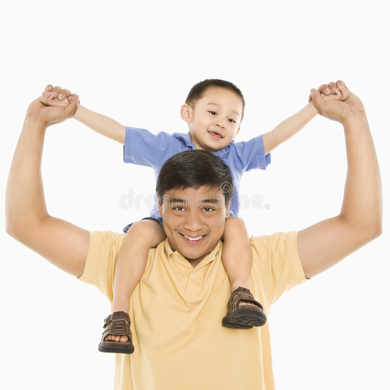 Father holding boy. royalty free stock images