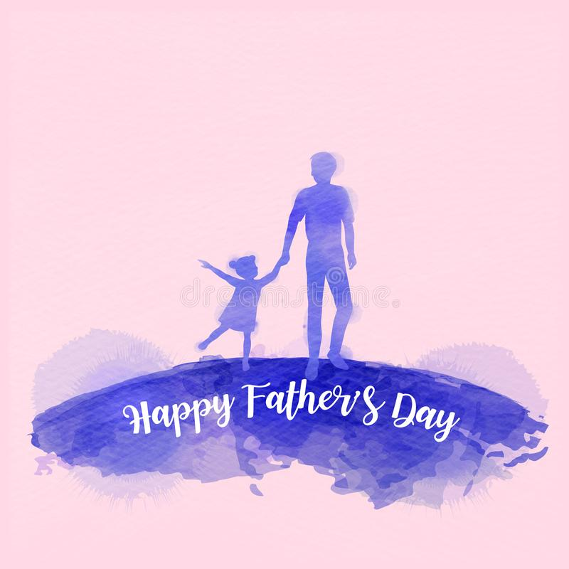 Father holding daughter silhouette plus abstract watercolor painted. Happy father`s day. Digital art painting. Vector illustratio. N vector illustration