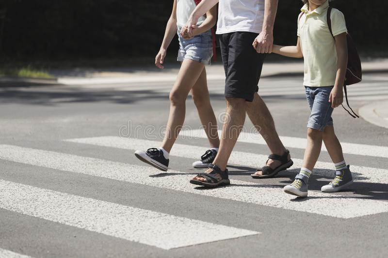 Father holding hands with his kids while on pedestrian crossing stock photography
