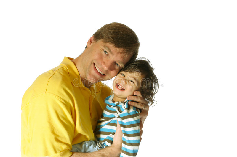 Father holding his toddler son stock photography
