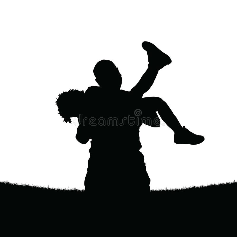 Father holds a daughter in his arms royalty free illustration