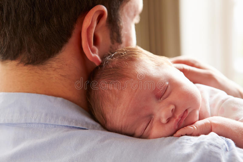 Download Father At Home With Sleeping Newborn Baby Daughter Stock Image - Image of girl, parent: 47125337