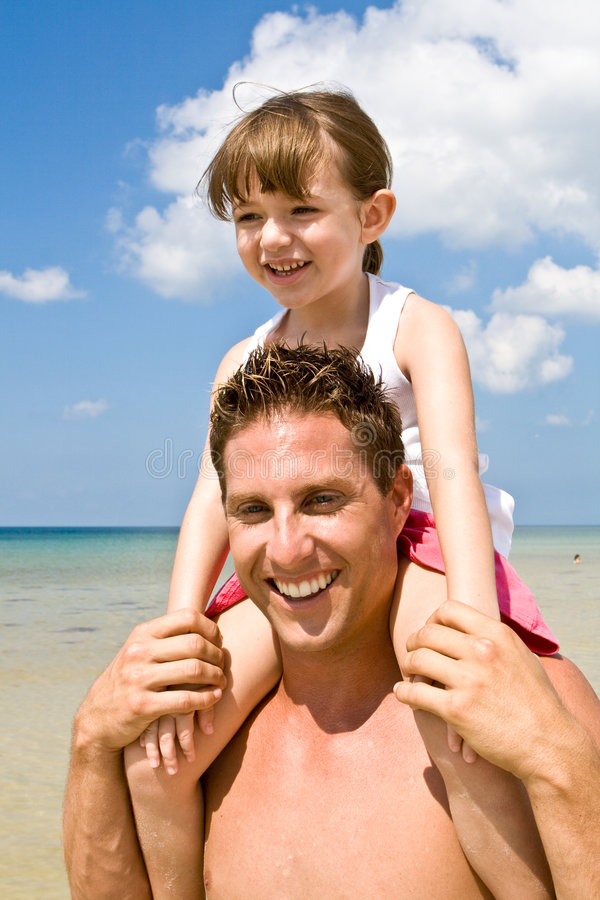 Father & kid - beach vacation stock images